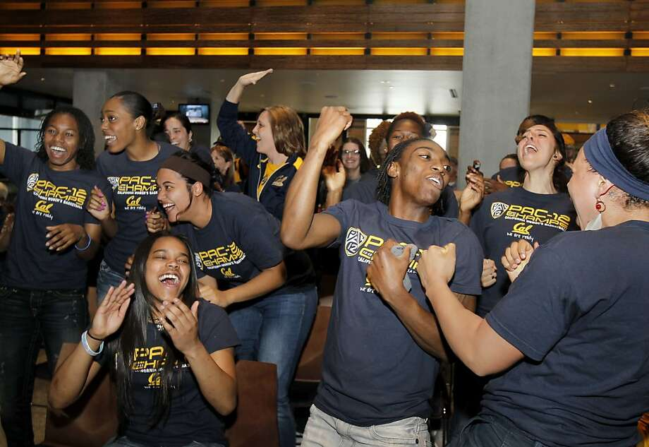 The Cal women's basketball team erupts upon becoming a No. 2 seed in the NCAA Tournament. Photo: Brant Ward, The Chronicle