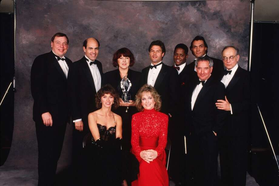 The series also won many awards - such as 15 Emmy Awards throughout its run, four of which were for Outstanding Drama Series. Here the cast of L.A. Law pose together after winning a People's Choice Awards in 1989. It was also made into a movie - L.A. Law: The Movie - in 2002.