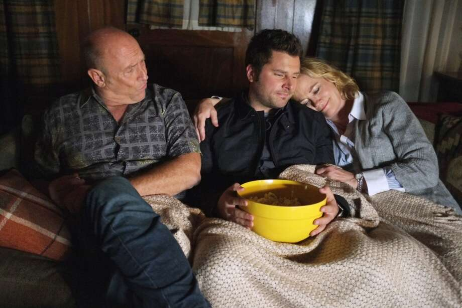Bernsen plays Henry in Psych. He's seen here with James Roday as Shawn Spencer, Cybill Shepherd as Madeleine Spencer.