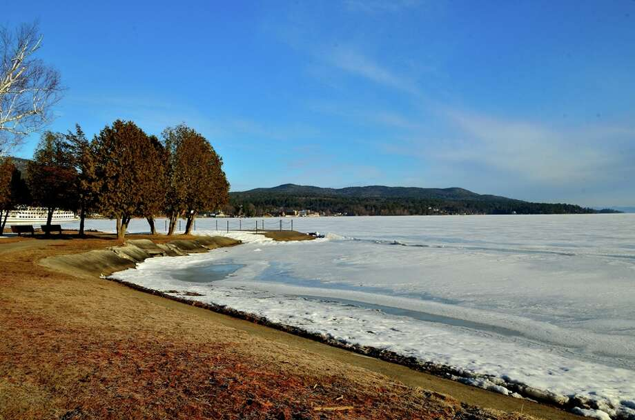 This photo from Philip Yin of a morning along Lake George, taken earlier this month, offers a contrast of sky, ice and beach. (Philip Yin)