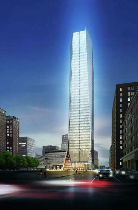 A rendering of the proposed 41-floor office tower to be built at 609 Main and Texas by Hines.