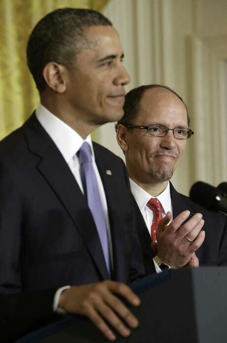 President Barack Obama announces Thomas Perez, head of Justice's civil rights division, as his nominee for labor secretary. Photo: Pablo Martinez Monsivais / AP