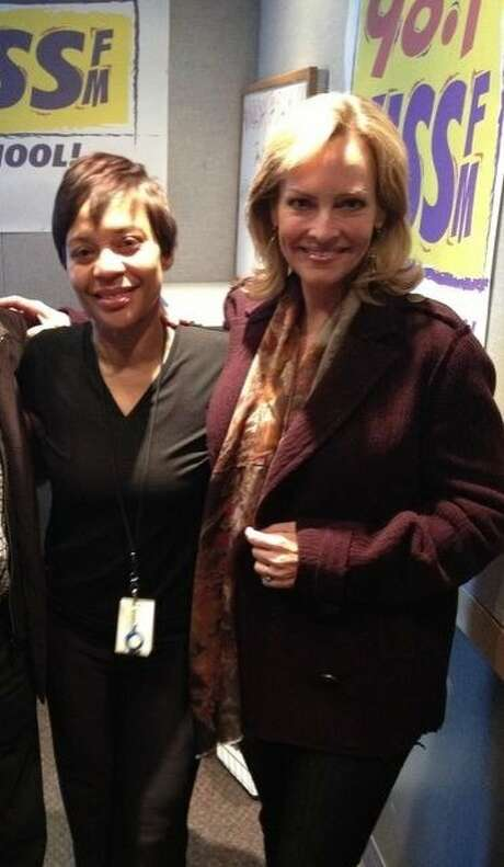 "Renel Brooks-Moon (left) welcomes KTVU's Julie Haener to the morning  show at KISQ (""Kiss""). Photo: Denise Nilan"