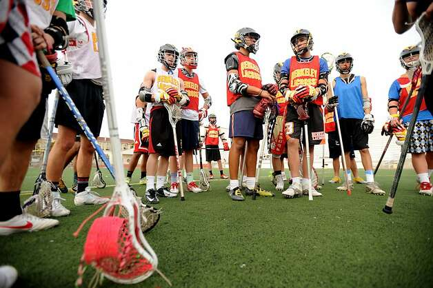 Members of the Berkeley High School men's lacrosse team gather for practice on Monday, March 18, 2013, in Berkeley, Calif. Photo: Noah Berger, Special To The Chronicle