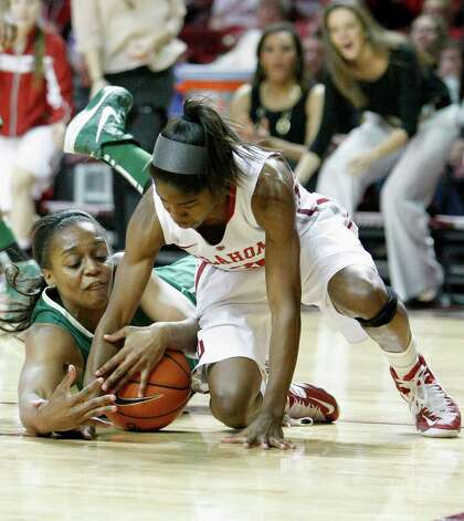 Oklahoma's Aaryn Ellenberg, right, and Baylor's Brooklyn Pope, left, fight for a loose ball during the second half of a NCAA college basketball game in Norman, Monday, Feb. 25, 2013.  Baylor won 86-64.  (AP Photo/Alonzo Adams) Photo: Alonzo Adams, Associated Press / FR159426 AP
