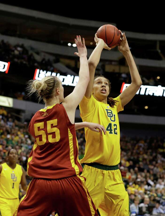Iowa State center Anna Prins (55) defends against a shot attempt by Baylor center Brittney Griner (42) during an NCAA college basketball championship game in the Big 12 Conference tournament, Monday, March 11, 2013, in Dallas. Baylor won 75-47. (AP Photo/Tony Gutierrez) Photo: Tony Gutierrez, Associated Press / AP