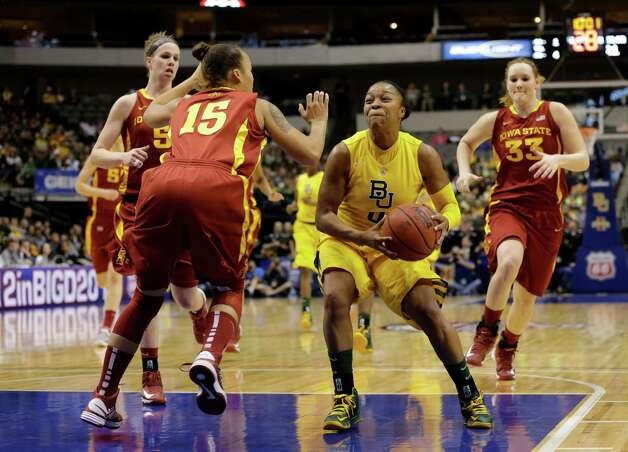 Iowa State guard Nicole Blaskowsky (15) and Anna Prins (55) defend as Baylor guard Odyssey Sims (0) drives to the basket during an NCAA college basketball championship game in the Big 12 Conference tournament, Monday, March 11, 2013, in Dallas. Baylor won 75-47. (AP Photo/Tony Gutierrez) Photo: Tony Gutierrez, Associated Press / AP