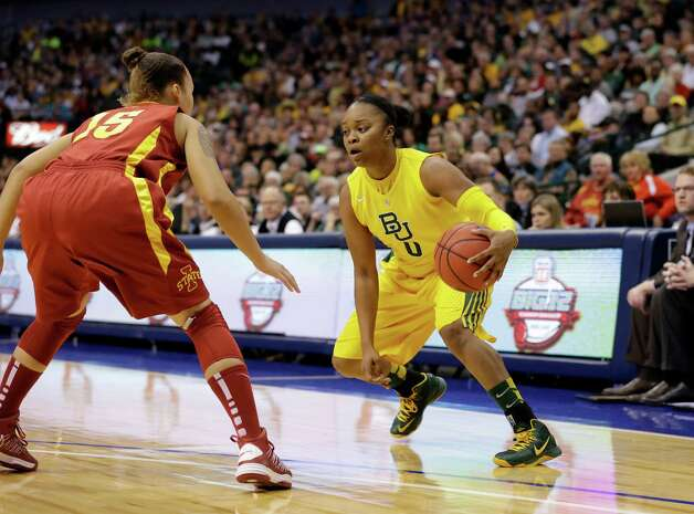 Iowa State guard Nicole Blaskowsky defends against Baylor guard Odyssey Sims (0) during an NCAA college basketball championship game in the Big 12 Conference tournament, Monday, March 11, 2013, in Dallas. Baylor won 75-47. (AP Photo/Tony Gutierrez) Photo: Tony Gutierrez, Associated Press / AP