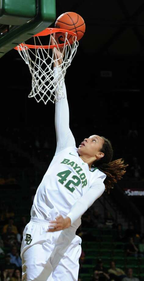 Baylor's Brittney Griner (42) scores against Lamar during the second half of an NCAA college basketball game, Friday, Nov. 9, 2012, in Waco, Texas. Baylor won 80-34. (AP Photo/Waco Tribune Herald, Rod Aydelotte) Photo: Rod Aydelotte, Associated Press / Waco Tribune Herald