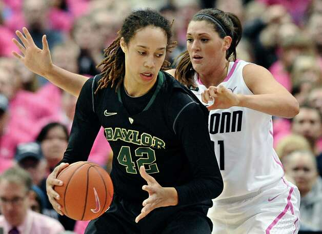 Baylor's Brittney Griner, left, is pressured by Connecticut's Stefanie Dolson during the first half of an NCAA college basketball game in Hartford, Conn., Monday, Feb. 18, 2013. (AP Photo/Jessica Hill) Photo: Jessica Hill, Associated Press / FR125654 AP