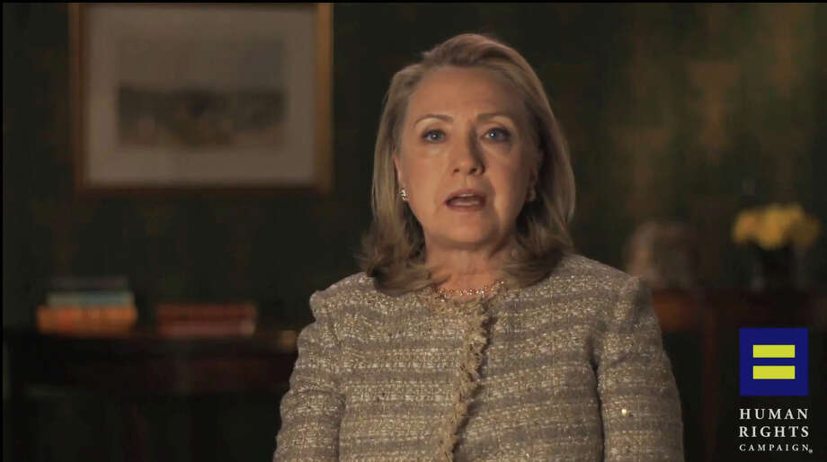 "This video framegrab, provided by the Human Rights Campaign shows former Secretary of State Hillary Rodham Clinton announcing her support for gay marriage, putting her in line with other potential Democratic presidential candidates on a social issue that is rapidly gaining public approval. Clinton made the announcement in an online video released Monday morning by the gay rights advocacy group Human Rights Campaign. She says in the six-minute video that gays and lesbians are ""full and equal citizens and deserve the rights of citizenship."" (AP Photo/Human Rights Campaign)"