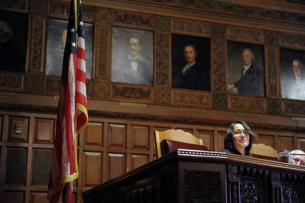 Court of Appeals Justice Jenny Rivera addresses those gathered following her swearing-in ceremony on Monday, March 18, 2013 in Albany, NY.   (Paul Buckowski / Times Union) Photo: Paul Buckowski