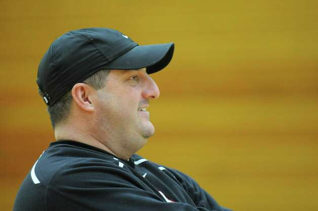 Albany Academy basketball coach Brian Fruscio keeps an eye on his players Monday March 18, 2013, during a practice session at Siena College in Loudonville, N.Y. The Cadets are preparing to compete in the Federation Basketball Tournament this Friday. (Will Waldron/Times Union) Photo: Will Waldron