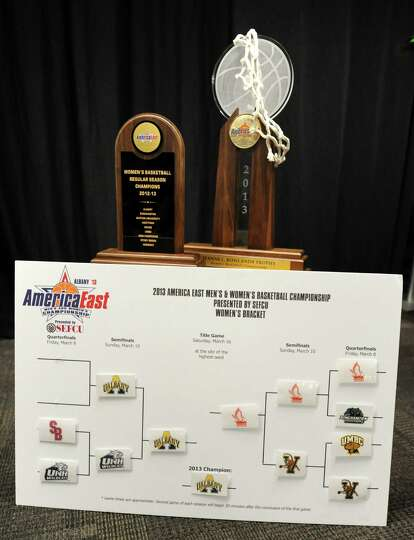 The UAlbany women's AmericaEast trophies and bracket board are on display as the UAlbany women's bas