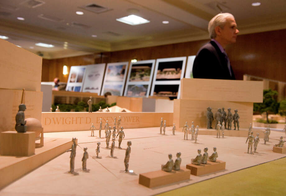 John Bowers, project architect with Gehry Partners, LLP, explains the newest refinements using a model of the Dwight D. Eisenhower memorial during a meeting with the memorial commission at the Dirksen Senate Office Building on May 15, 2012 in Washington, D.C. Photo: The Washington Post, The Washington Post/Getty Images / 2011 The Washington Post