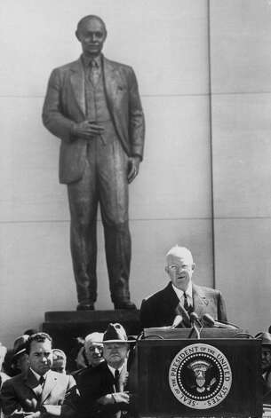 The Taft Memorial is not a memorial to President William Howard Taft, who is notable for finishing third, behind Woodrow Wilson and Theodore Roosevelt, in his re-election bid in 1912, and then going on serve as chief justice of the Supreme Court. Rather, the memorial honors his son, Sen. Robert A. Taft. And yes, that's then President Dwight D. Eisenhower speaking at the memorial's dedication in 1959. Photo: Ed Clark, Time & Life Pictures/Getty Image / Time Life Pictures