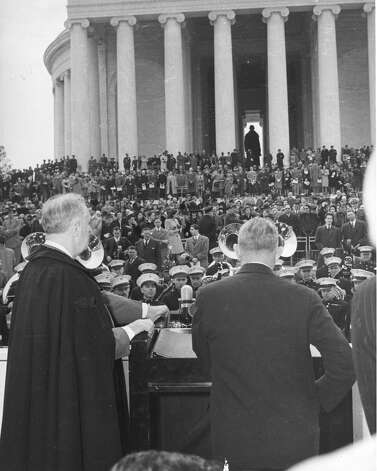 Roosevelt was still president in 1943, when the memorial was dedicated. Similarly to the Lincoln Memorial, the Jefferson memorial contains a 19-foot-tall statue of its subject. But Jefferson is standing, and bronze.John Adams, Jefferson's rival and the second president of the United States, doesn't have a memorial in Washington, D.C., but there is a movement to create one. Photo: PhotoQuest, Getty Images / Archive Photos