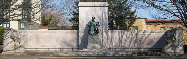 The James Buchanan Memorial is notable for being 82 feet long, centered by a 9-foot-tall statue of the 15th president, shown seated. Statues representing Law and Diplomacy flank the memorial. Buchanan was the only bachelor president. The statue, sculptured by Hans Schuler, was a gift from Buchanan's niece, Harriet Lane Johnston, and dedicated in 1930.