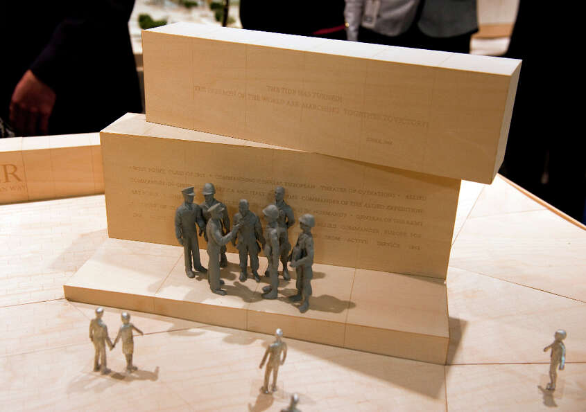 A portion of the Dwight D. Eisenhower memorial model is on display during a meeting with the memoria
