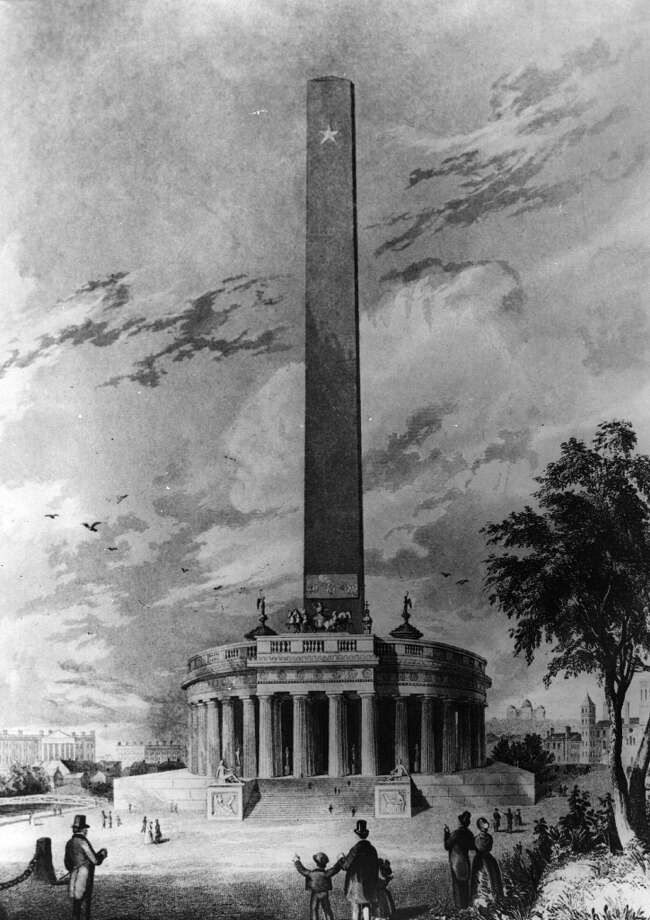 But the original design for the Washington National Monument, by American architect Robert Mills, was a bit fussier. Photo: Three Lions, Getty Images / Hulton Archive