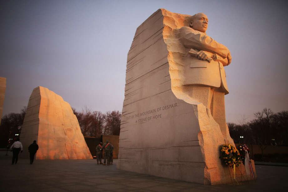 The one non-president featured here is Martin Luther King, Jr., whose memorial was dedicated on Aug. 28, 2011, the 48th anniversary of the groundbreaking March on Washington for Jobs and Freedom. But before the dedication, the United States Commission of Fine Arts said of 28-foot-tall granite monument: The colossal scale and Social Realist style of the proposed sculpture recalls a genre of political sculpture that has recently been pulled down in other countries. The commission brought controversy on itself by saying the statue made King look confrontational (well, yes). Photo: Mario Tama, Getty Images / 2013 Getty Images