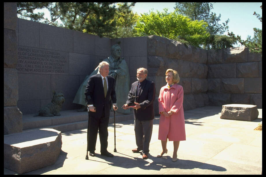 But, in 1997, President Bill Clinton dedicated a much larger, grander memorial to the only president elected to four terms. In addition to the question of it being contrary to Roosevelt's wishes, there was some dissent about the decision to depict Roosevelt sitting in a chair, obscuring his paralysis from polio. Roosevelt hid his disability during his lifetime. Coincidentally, Clinton was on crutches, recovering from leg injury sustained, during the dedication. Photo: Diana Walker, Time & Life Pictures/Getty Image / Diana Walker