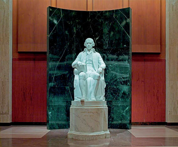 Inside the James Madison Memorial Building, there's a statue of the fourth president.