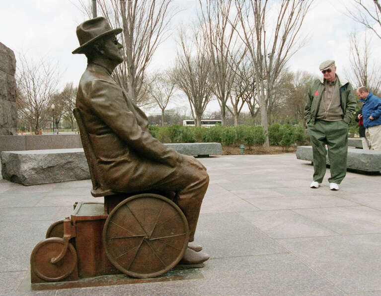 In 2001, the National Park Service added a statue of Roosevelt in a wheelchair near the entrance of