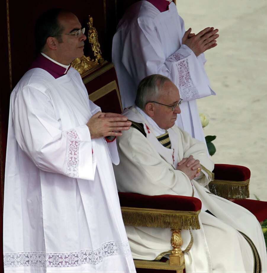 Pope Francis celebrates his installation Mass in St. Peter's Square at the Vatican, Tuesday, March 19, 2013. Pope Francis has urged princes, presidents, sheikhs and thousands of ordinary people gathered for his installation Mass to protect God's creation, the weakest and the poorest of the world. Photo: Andrew Medichini