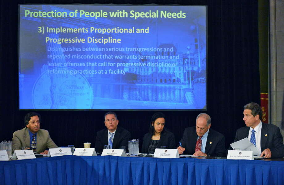 From left:  The Governor's Special Advisor on Vulnerable Persons, Clarence Sundram, director of state operations Howard Glaser, Counsel to the Gov. Mylan Denerstein, Secretary to the Gov. , Larry Schwartz and NYS Gov. Andrew Cuomo during a Cabinet meeting at the Capitol Wednesday May 9, 2012.  (John Carl D'Annibale / Times Union)