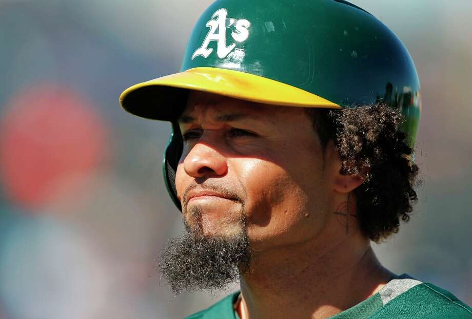 A's Coco Crisp after an at bat as the Oakland Athletics take on the Kansas City Royals at Phoenix Municipal Stadium on Tuesday Mar. 12, 2013, in Phoenix, Az., in Spring Training action. Photo: Michael Macor, The Chronicle / ONLINE_YES