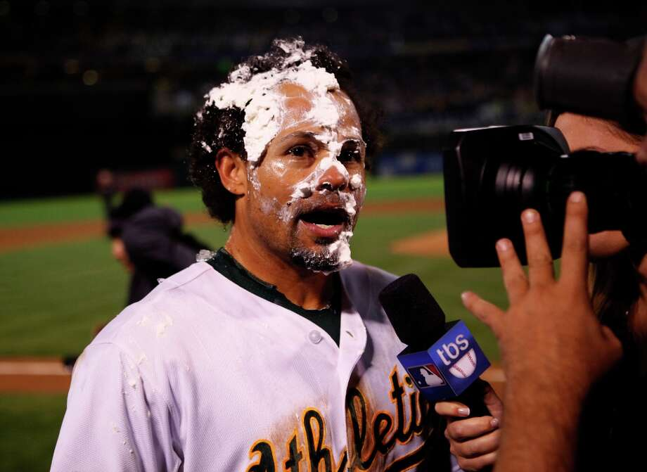 Oakland Athletics' Coco Crisp gets a pie in the face after he hit a walk-off single to win game four of the American League Divisional Series on Wednesday, October 9, 2012 in Oakland, Calif. Photo: Beck Diefenbach, Special To The Chronicle / ONLINE_YES