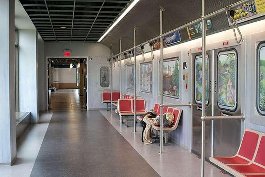 Epic, headquartered in Verona, Wis., has designed an office hallway to look like the New York subway. Source: Glassdoor.com Photo: Glassdoor.com