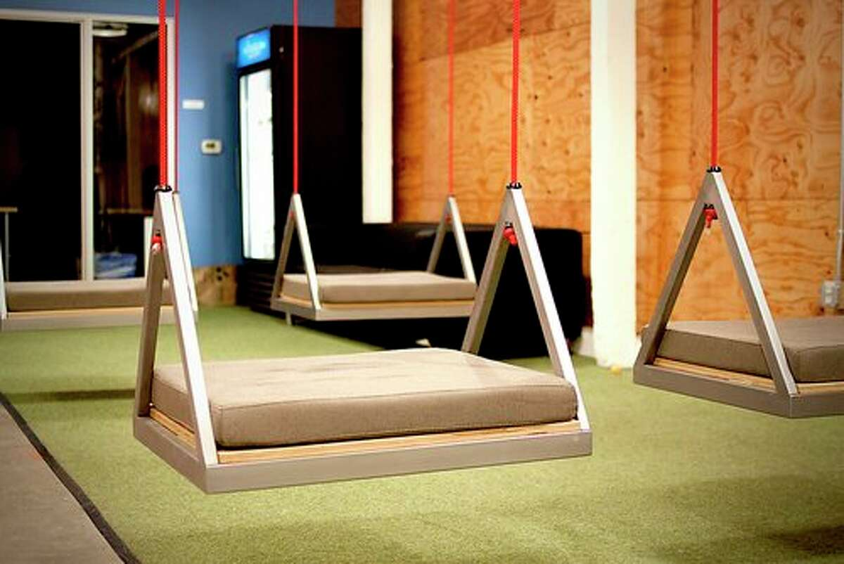 Box, headquartered in Palo Alto, Calif., has a playful take on seating arrangements as they added swings to their office. Source: Glassdoor.com