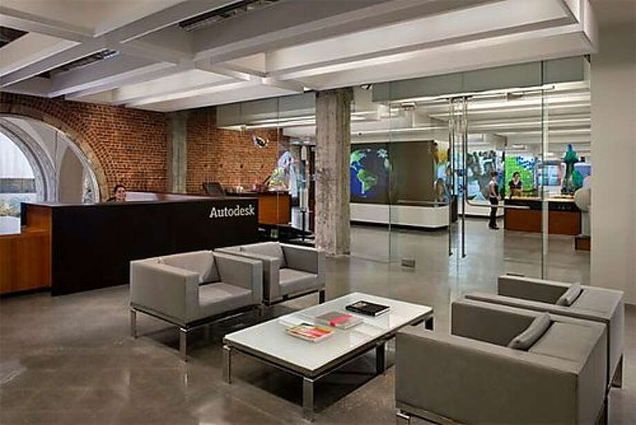 Autodesk employees collaborate in architecturally interesting spaces.