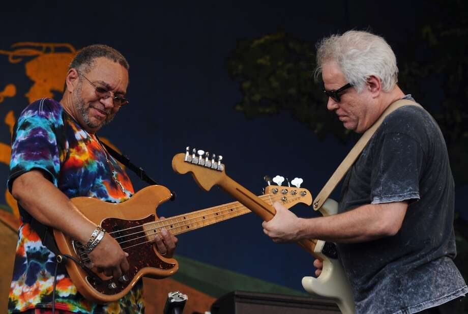 George Porter Jr. and Brian Stoltz of The Funky Meters perform during the 2012 New Orleans Jazz & Heritage Festival Day 7 at the Fair Grounds Race Course on May 6, 2012 in New Orleans. The band is slated to perform at this year's Gathering of the Vibes.