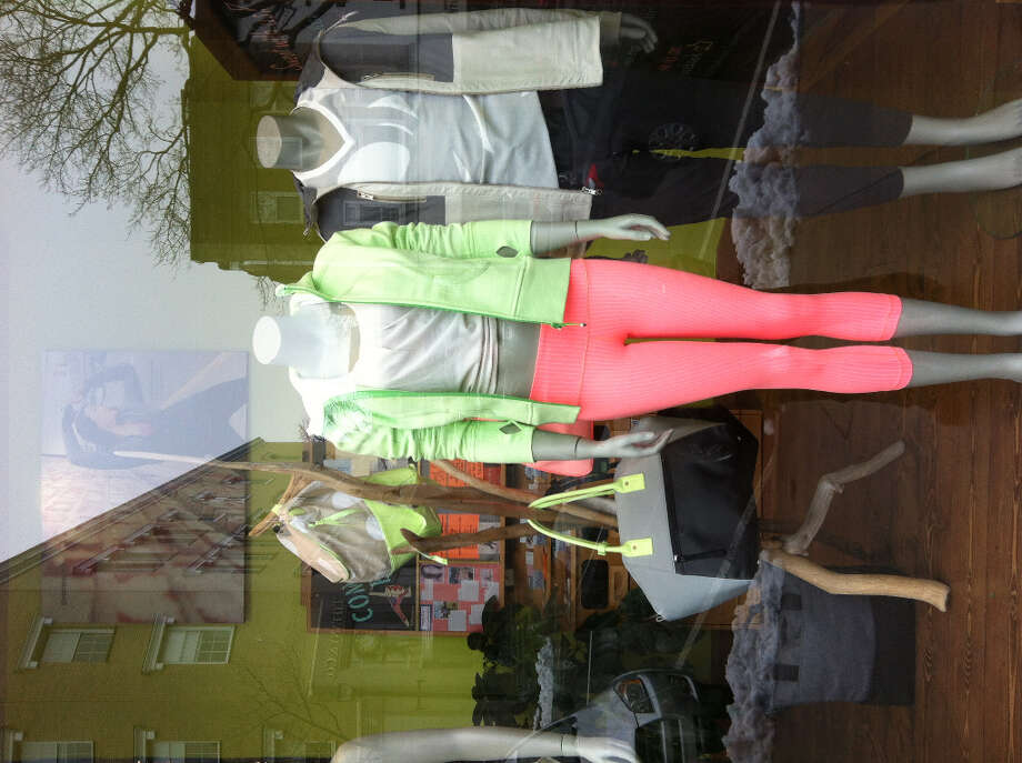 A window display at the Lululemon Athletica retail store at 151 Greenwich Ave. The high-end purveyor of yoga apparel pulled its Luon line of pants from the shelves Tuesday amid concerns that the sheer fabric -- in the color black -- is too revealing.