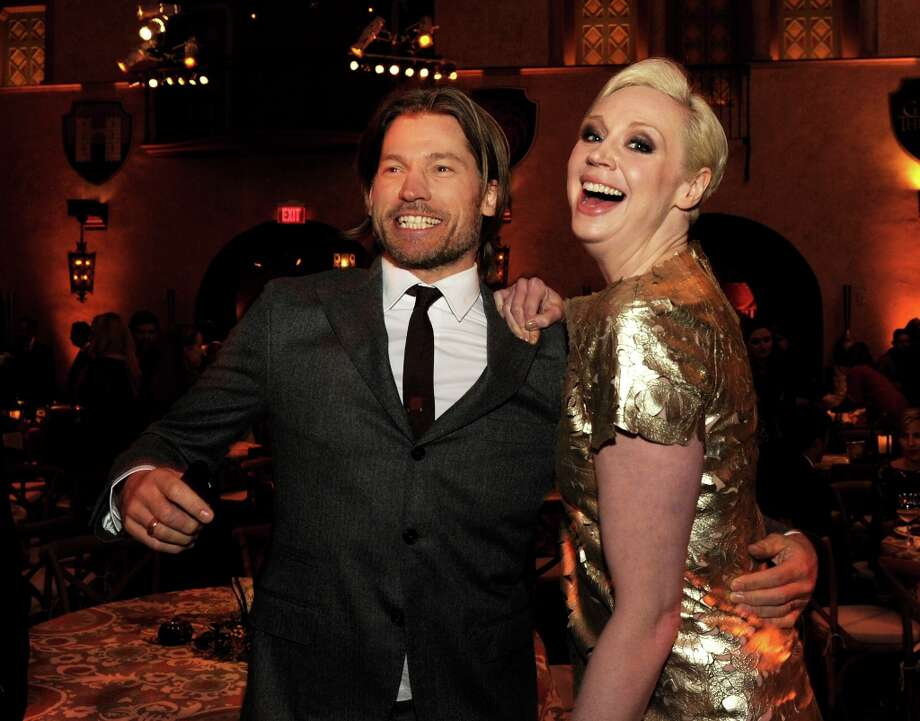 Actors Nikolaj Coster-Waldau (L) and Gwendoline Christie pose at the after party for the premiere of HBO's Game Of Thrones at the Roosevelt Hotel on March 18, 2013 in Los Angeles, California. Photo: Kevin Winter, Getty Images / 2013 Getty Images