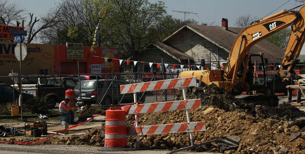 Construction continues prior a road closure on southbound Blanco Road that will take effect March 20, 2013. The southbound lane will be closed for six months between Fresno and San Francisco Street to reconstruct the roadway, curbs, driveways, sidewalks and intersecting streets as well as a drainage project. The northbound lane will remain open. Photo: JOHN DAVENPORT, SAN ANTONIO EXPRESS-NEWS / ©San Antonio Express-News/Photo may be sold to the public