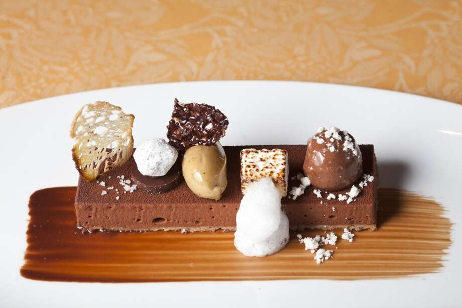 Valrhona fondant au chocolat, with five accompaniments at Auberge du Soleil.
