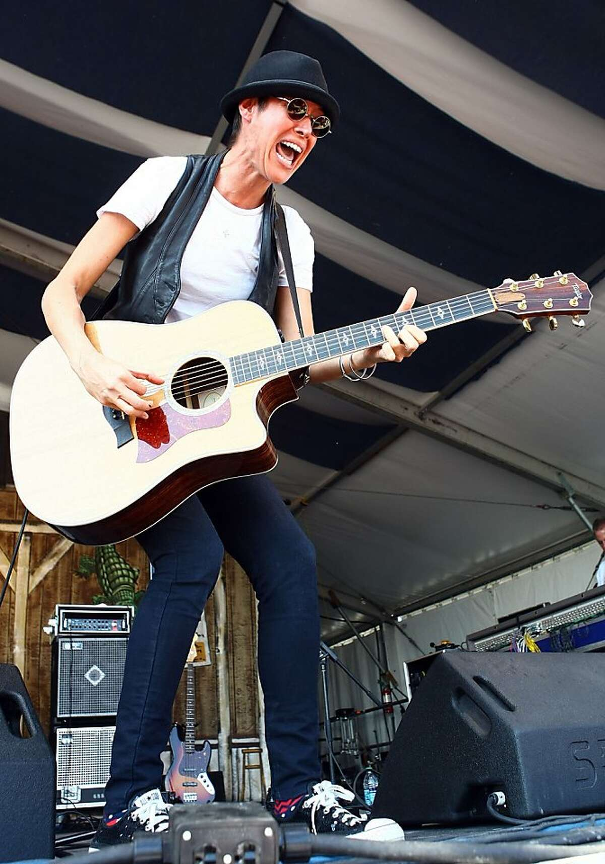 Singer / Songwriter Michelle Shocked performs during day 4 of the 2011 New Orleans Jazz & Heritage Festival at the Fair Grounds Race Course on May 5, 2011 in New Orleans, Louisiana.