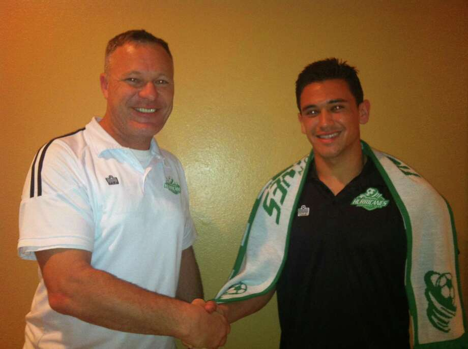 Houston Hurricanes owner Brendan Keyes welcomes new signing midfielder Rico John Pardo. Photo: Courtesy Houston Hurricanes