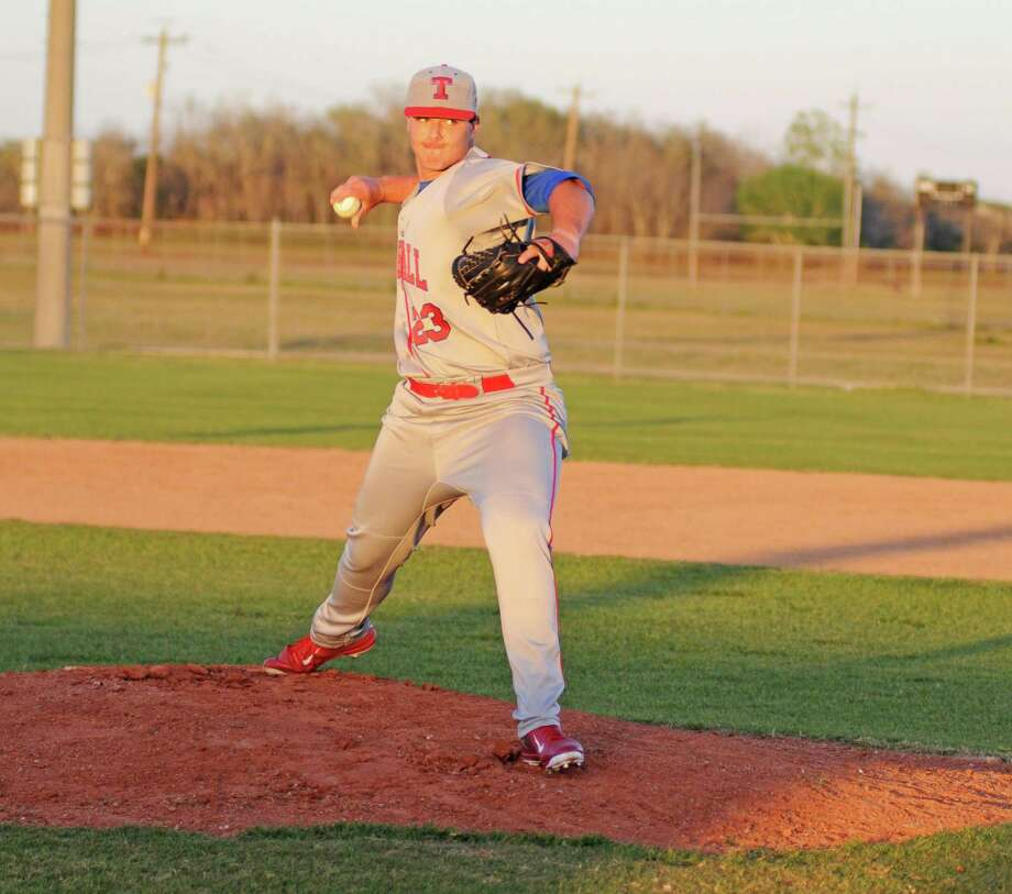 Tomball junior Braeden Holub (23) was part of a three-pitcher perfect game in a five-inning 13-0 victory earlier this month at Willowridge. Tomball is ranked No. 1 in Texas Class 4A baseball. Photo: L. Scott Hainline / Freelance