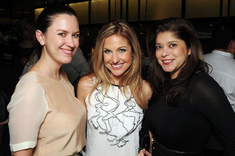 From left: Jennifer Howard, Katherine Whaley and Marcy de Luna  at the grand opening party at Del Frisco's Grille at West Ave. Thursday March 14, 2013. Photo: Dave Rossman / © 2013 Dave Rossman
