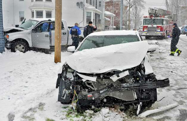 Scene of a 3-car accident on Broadway and Pine St. in Rensselaer Tuesday March 19, 2013.  (John Carl D'Annibale / Times Union) Photo: John Carl D'Annibale / 00021622A
