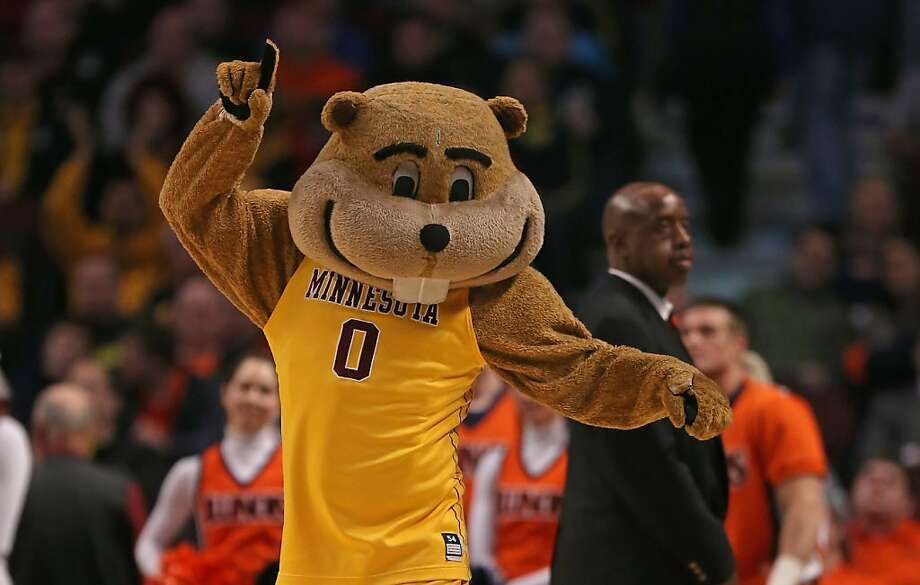 Nothing intimidates your foes like the buck-toothed grin of the Minnesota Golden Gopher. Photo: Jonathan Daniel, Getty Images