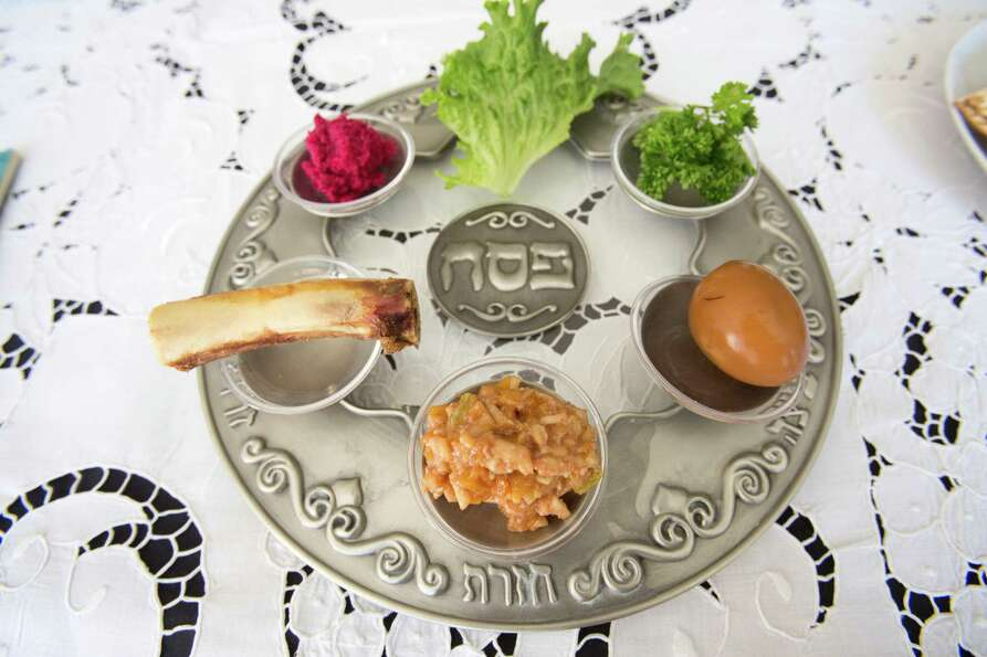 This Passover plate has a little bit of everything.