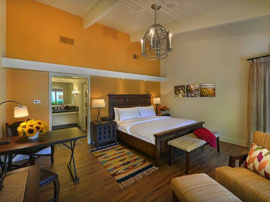 The 93 guest room bungalows of Quail Lodge, reopening March 26, feature a lighter palette and more contemporary California decor. Photo: Quail Lodge