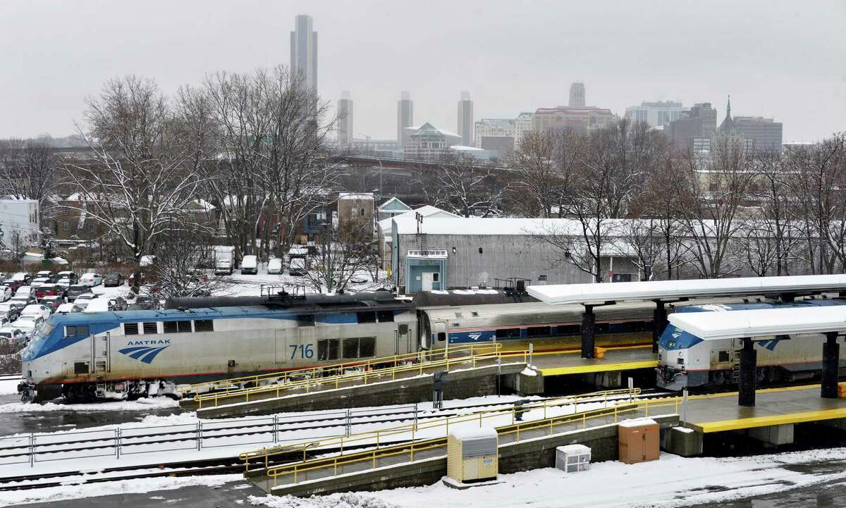Amtrak trains in the Rensselaer station Tuesday March 19, 2013. (John Carl D'Annibale / Times Union)