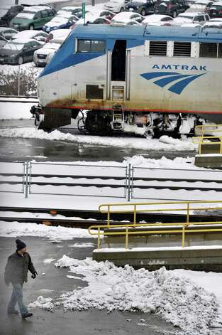 An Amtrak engine in the Rensselaer station  Tuesday March 19, 2013.  (John Carl D'Annibale / Times Union) Photo: John Carl D'Annibale / 00021622A